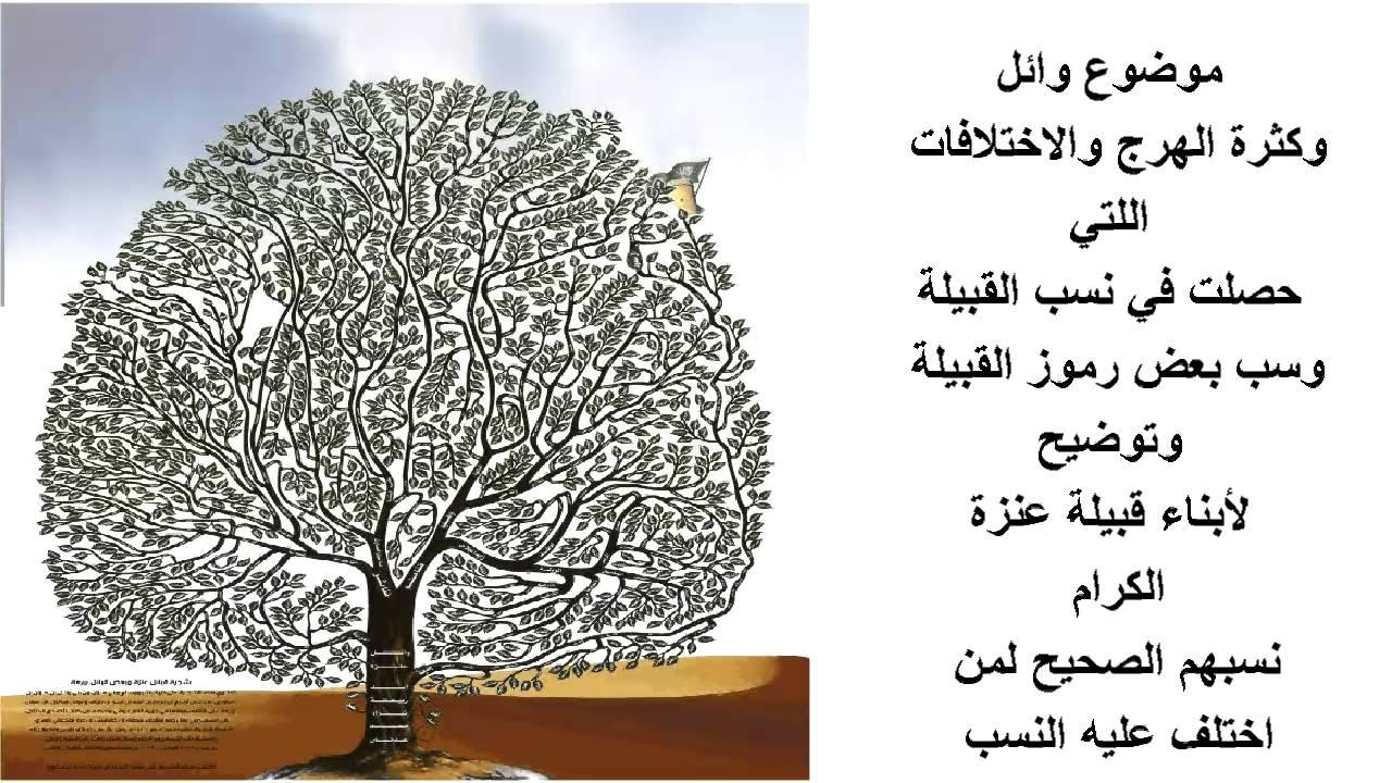 صوره اصل النسب في قبيلة عنزة