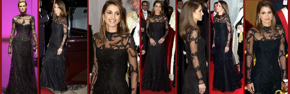 صور فساتين سهرة الملكة رانيا