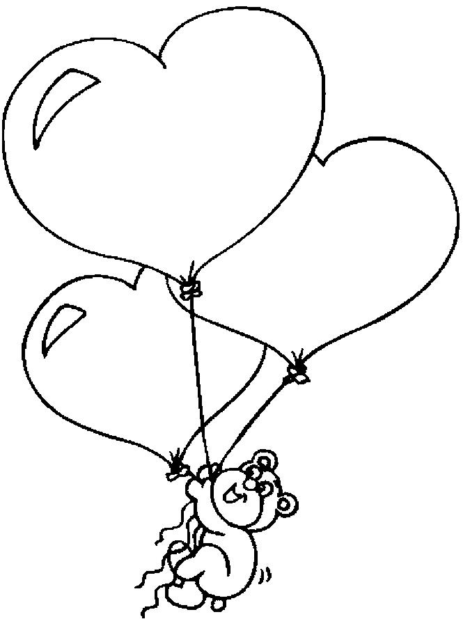 رسمة بالونات قلوب للتلوين