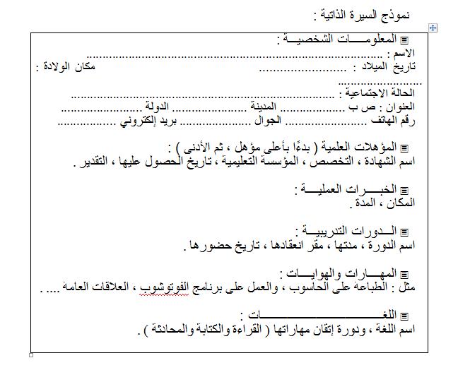 بالصور كتابة السيرة الذاتية بالعربي 8408fe439c7314166ba04372ae1580a1