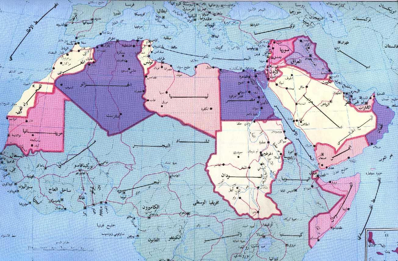 صوره خريطة البلدان العربية والشرق الاوسط
