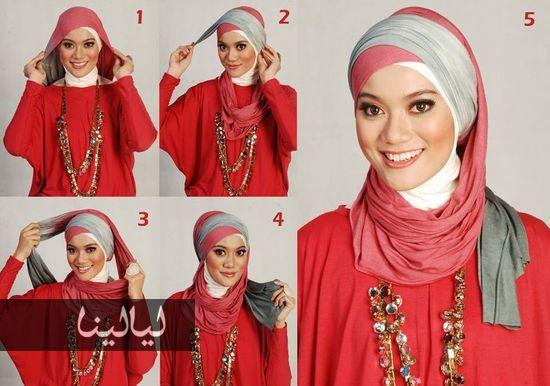 صوره اسهل طريقة لوضع الحجاب