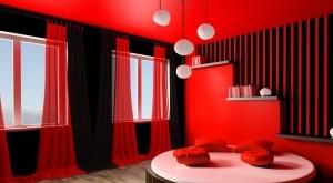 صور دهانات غرف نوم باللون الاحمر والاسود حوائط حديثه