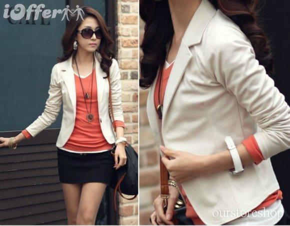 بالصور بليزر بناتيفى غايه الشياكه 2012 women slim jacket short coat one button blazer top 7af3