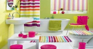 بالصور اجمل ديكور حمامات اطفال Colorful Basement Bathroom Renovation with Striped Curtain and Carpet Ideas 310x165