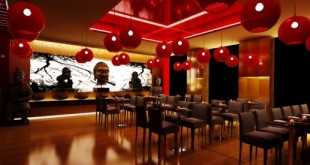 بالصور ديكور مطاعم الوجبات السريعة Japanese Restaurant Design red round pendants 582x275 310x165