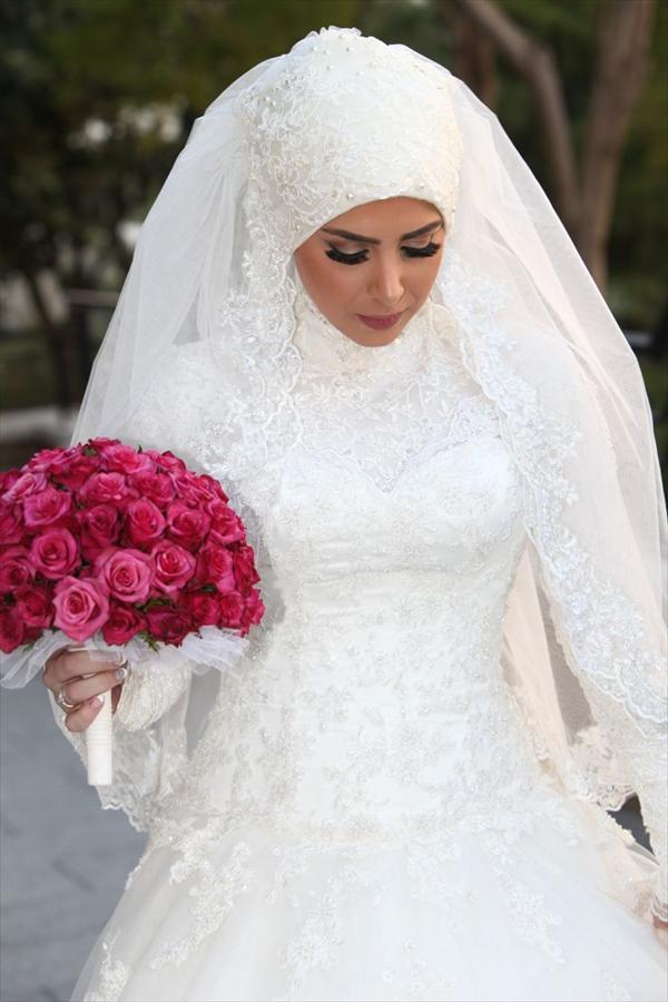 صوره فساتين عرايس محجبات 2018