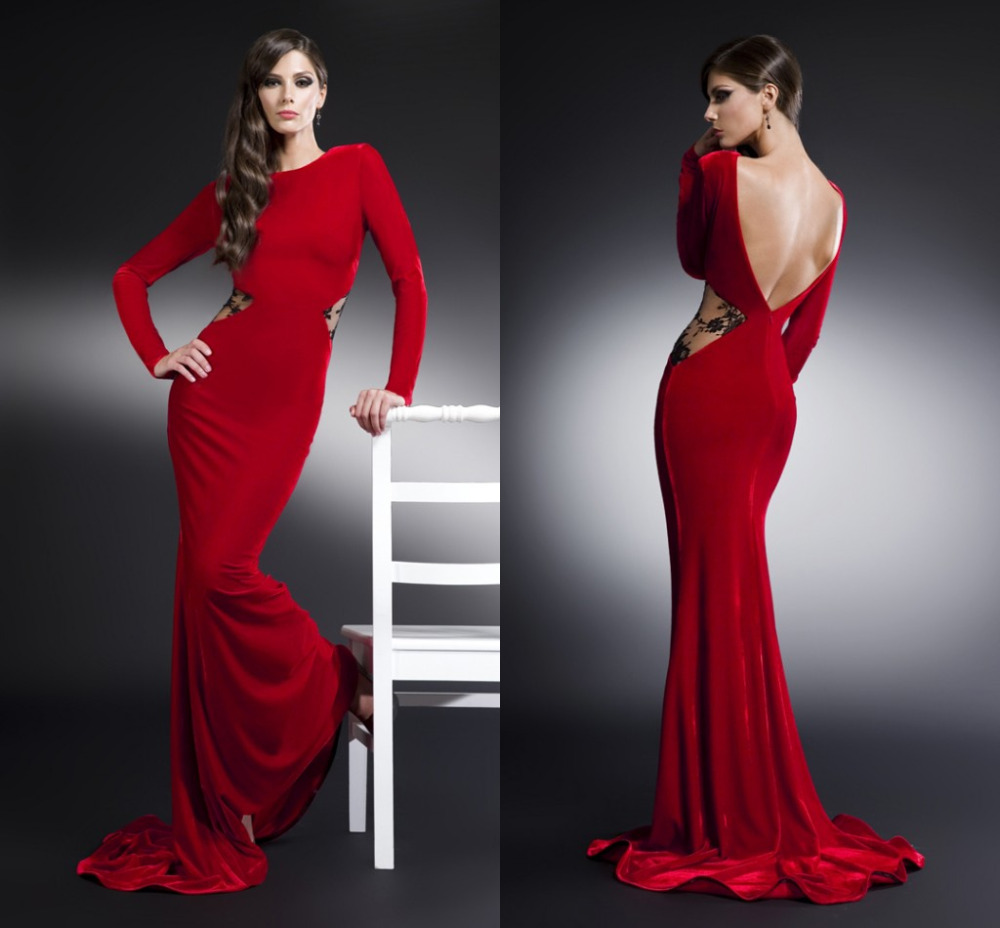 بالصور فساتين سهره ذات اكمام طويله 2014 bonito do grande de veludo mulheres grávidas para ordem festa vestidos Backless Red barato turco