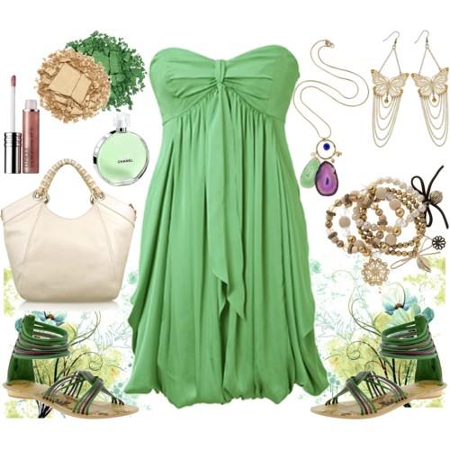 صورة اجمل ملابس للبنوتات ازياء بالبنفسجي والاخضر تجنن