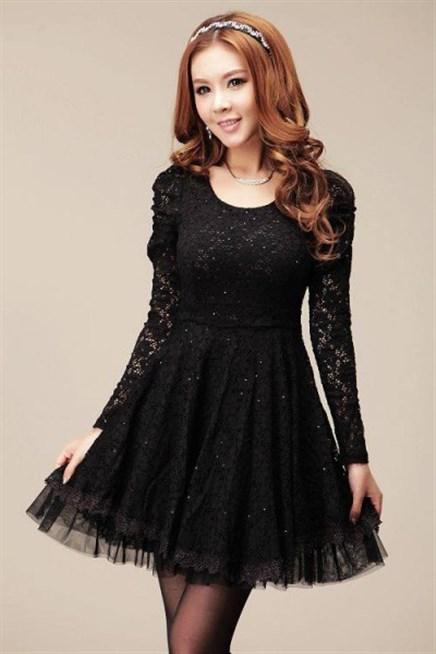 اجمل فستان كوري باللون الاسود مَع الدانتيل