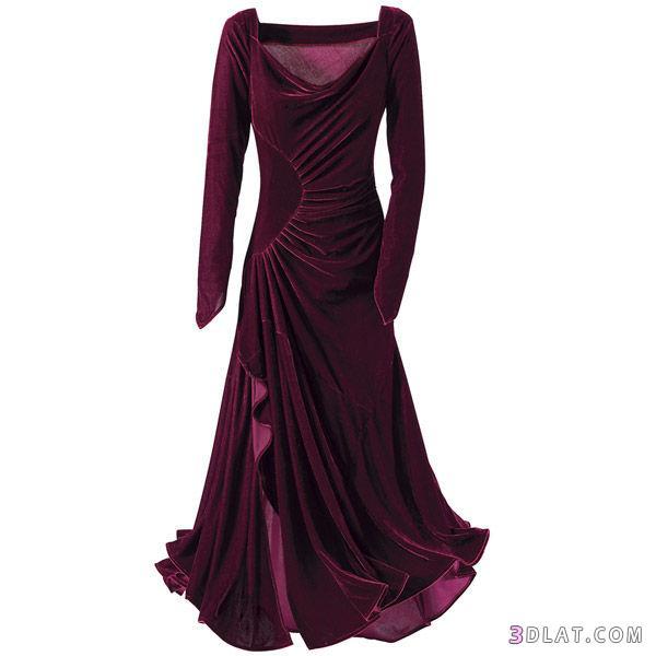 صورة فساتين مخمل طويله وناعمه , الشياكة كلها بتبان في الفساتين الطويلة
