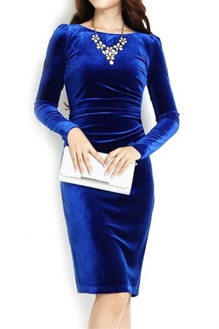 احلى فستان قطيفة ميدى باللون الازرق الملكي