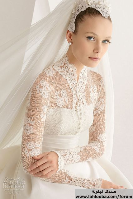 صور فساتين زفاف دانتيل فرنسي