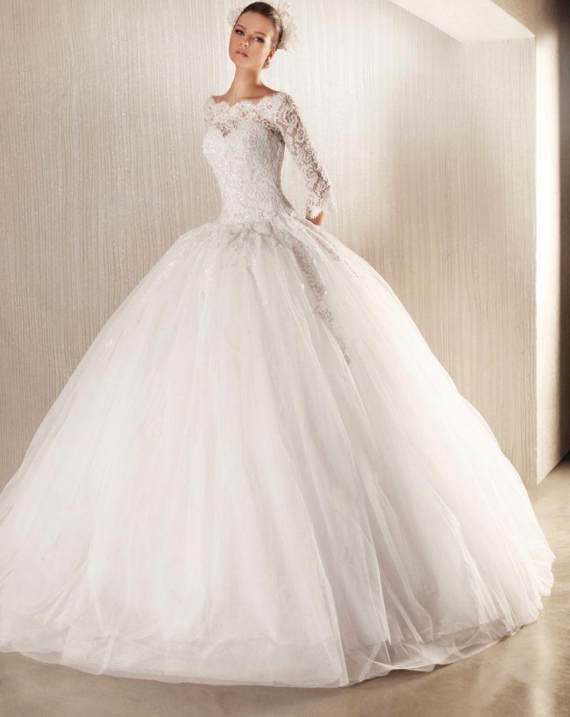 بالصور فساتين زفاف دانتيل كم طويل 20160524 1293