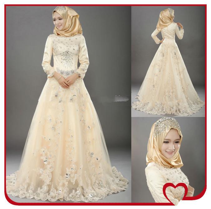 بالصور فساتين اوف وايت للمحجبات Designer 2014 Long Sleeves Lace Beaded Abaya Kaftan Bridal Gwww.fatakat ar.comown Tulle Champagne From Dubai Muslim Hijab