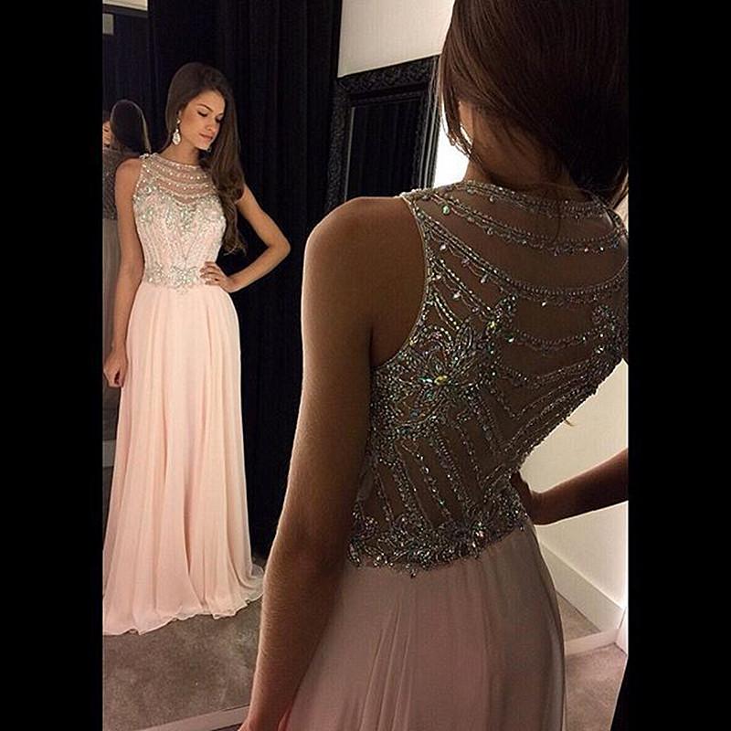 Pink-Chiffon-vestido-de-festa-Special-Occasion-Gowns-Hand-Beading-Applique-A-line-Long-Elegant-Prom