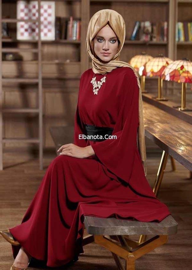 بالصور فساتين محجبات خروج شتوى Veiled clothing 2015 4