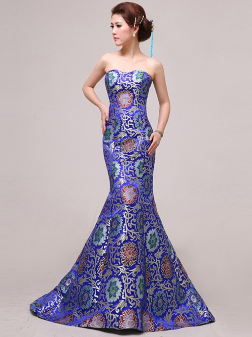 بالصور فساتين سواريه ذيل السمكة blue fishtail cheongsam qipao chinese wedding evening dress f1f31b83 600x800