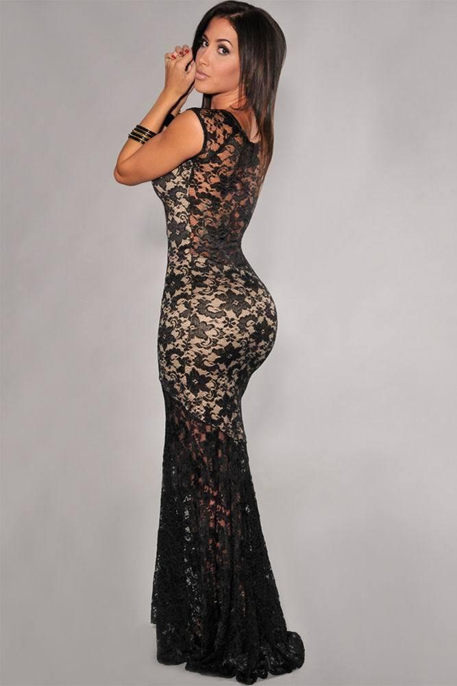 بالصور فساتين سهرات طويلة و قصيرة فساتين سهرات رائعة جداا robe de soiree Two toned Sexy Lined Long Lace www.fatakat ar.com Evening font b Dress b font LC6350