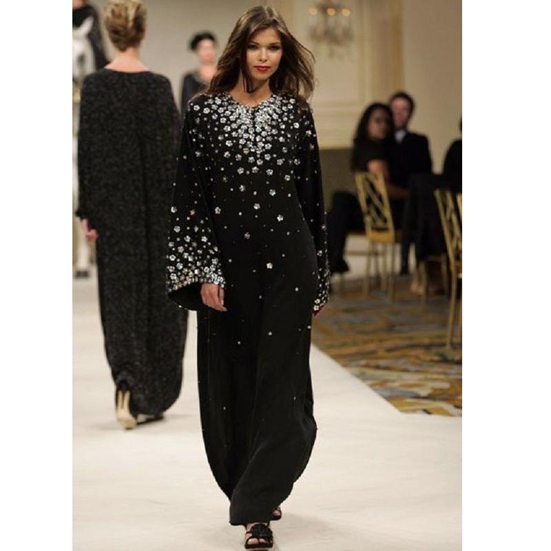 بالصور صور احدث عبايات عربية 2015 Newest Arrival Night Party wear Black Chiffon font b Crystals b font Evening Dresses Arabic
