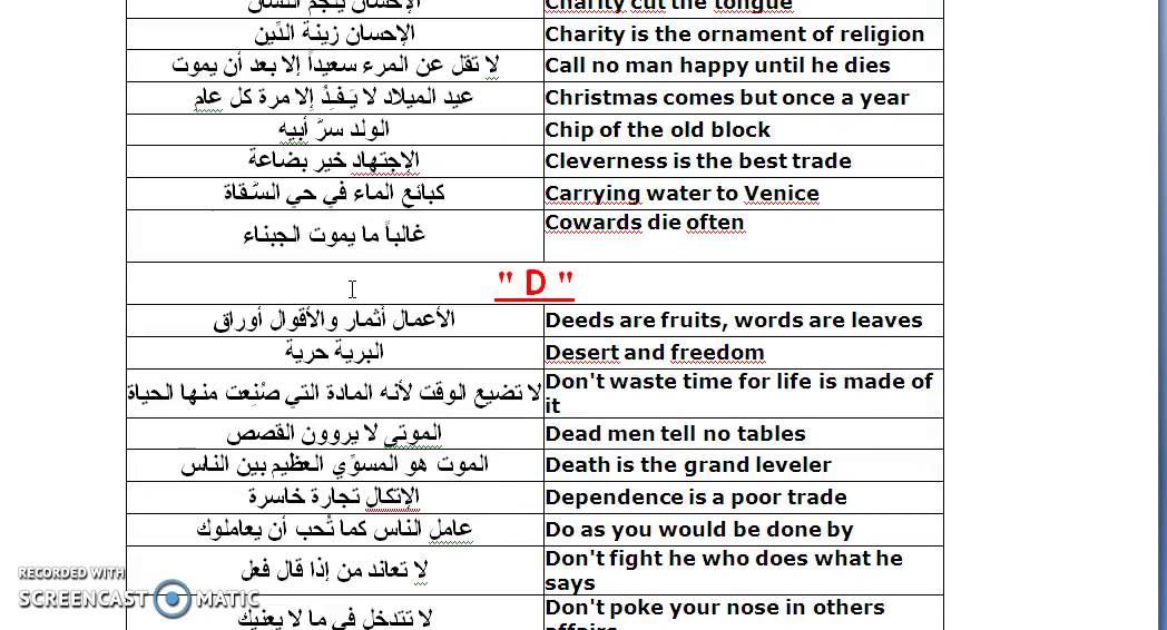 صوره ترجمة الامثال من الانجليزية الى العربية