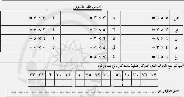 بالصور جدول الضرب بدون اجابات 20160624 1806