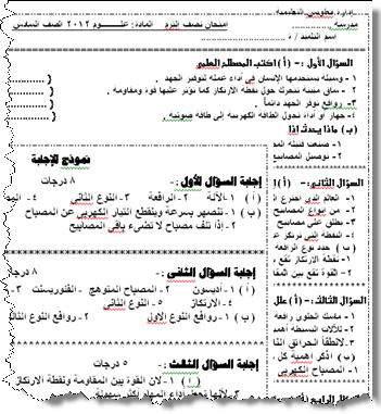 صوره امتحانات علوم للصف الخامس الابتدائي الترم الاول