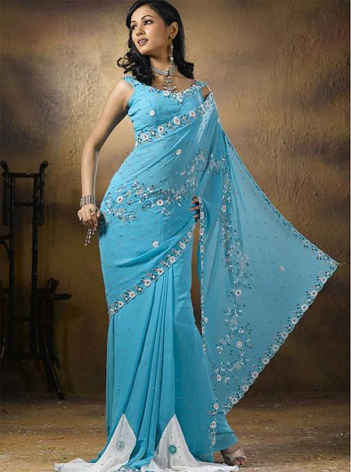 صوره ملابس هندية ساري بتصميمات عصرية