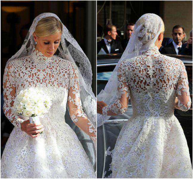 بالصور صور احدث موديلات فساتين زفاف النجمات والاميرات زفاف نيكي هيلتون من الخلف