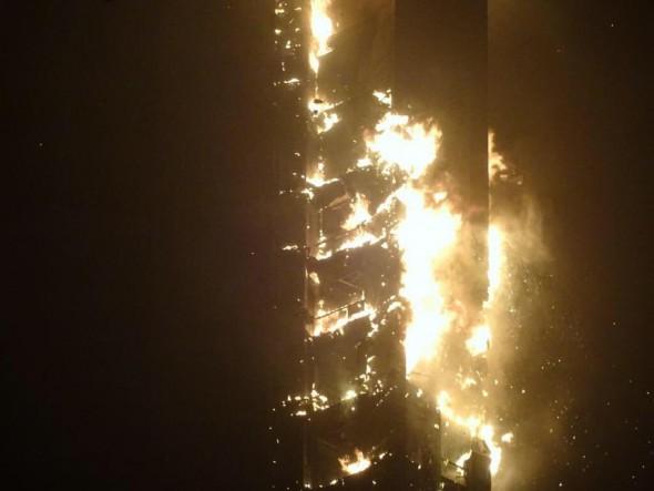 صوره حريق مارينا دبي السيطرة على حريق ضخم ببرج سكني