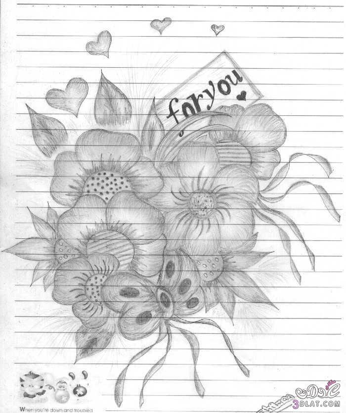 رسومات بالقلم الرصاص رسومات ورود 2017 3dlat.com_fad0bdc933