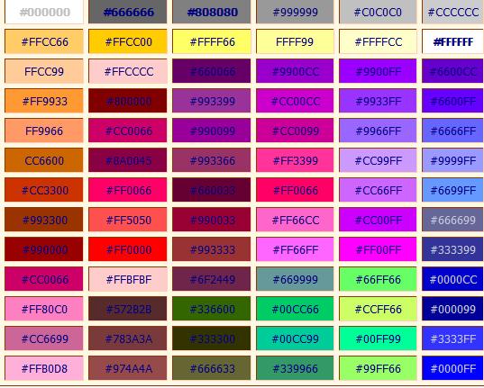 صوره رموز اكواد الالوان بلغة HTML