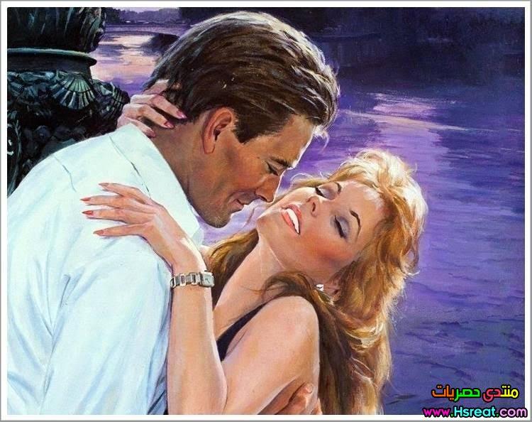 لوحة حضن رومانسي على البحر ليلا.jpg