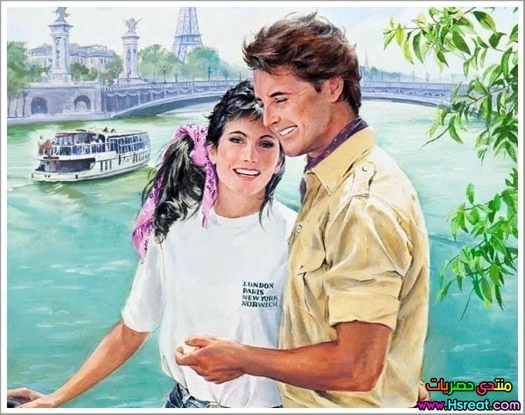 لوحة رومانسية كبلز على ضفاف النهر.jpg