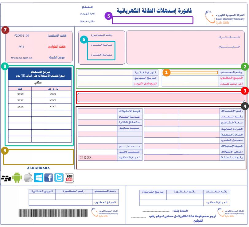 بالصور استعراض فاتورة الكهرباء السعودية 20160719 29