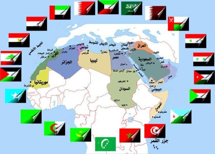 صورة خريطة البلدان العربية والشرق الاوسط