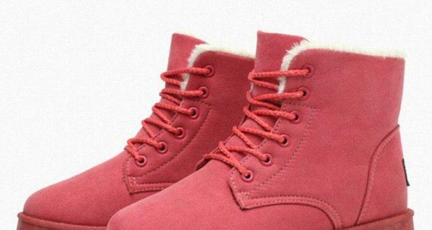 بالصور احدث موديلات الاحذية الشتوية women winter boots thick fur warm snow boots pu leather shoes woman lace up lady ankle 620x330