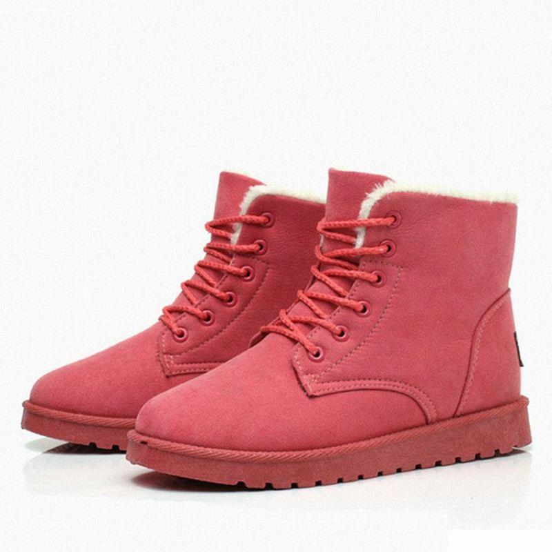 بالصور احدث موديلات الاحذية الشتوية women winter boots thick fur warm snow boots pu leather shoes woman lace up lady ankle