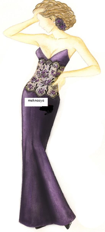 صورة طريقة عمل فستان سهرة بسيط , تصميم وتفصيل الفستان بالتفاصيل